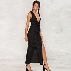 HDY Haoduoyi Fashion Solid Black Maxi Dress Sleeveless V-neck Female Bodycon Dress Slim Split Backless Party Club Dress