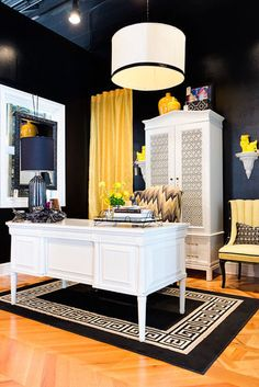 Dallas Non-Profit Dwell With Dignity launched their Thrift Studio. They asked local designers to create a vignette using donated products from their warehouse. Here is Studio Ten 25's Vignette. A black and yellow office that screams GLAM!!
