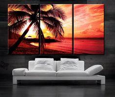 LARGE 30x 60 3 Panels Art Canvas Print beautiful Palm by BoxColors, $119.00
