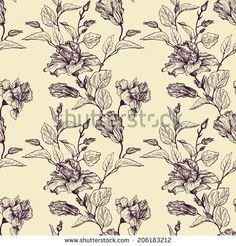 vintage vector floral seamless pattern, hand drawn design elements