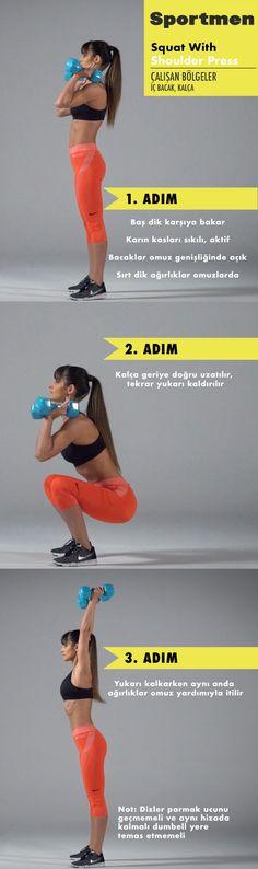 İç bacak ve kalça kaslarını çalıştıran Squat with Shoulder Press egzersizi nasıl yapılır? #squad #fitness #training #sportmen #spor