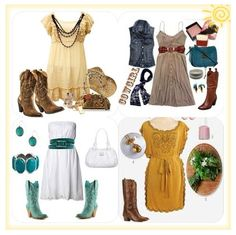 Cowgirl outfits, boots and dresses