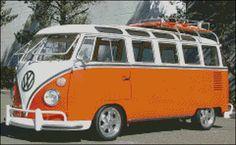 23 Window Volkswagen VW Bus Cross Stitch Pattern