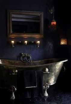 """""""22 Dramatic Gothic Bathroom Designs Ideas -- ...A gothic bathroom is not necessarily a black one, it may be with purple and red touches, the main thing is the atmosphere to achieve – a little bit gloomy, sometimes spooky but very refined and decadent."""" Check out incredible Gothic fixtures here: http://rebloggy.com/post/home-decor-bathroom-gothic-posh-toilet-tub-zink-dark-decor-black-furniture-goth/75112028639"""