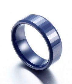 Polished and Rectangular Faceted Blue Ceramic Ring - Tungsten Republic