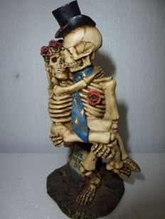 Fantasy art; Skeleton couple: French kiss - 1990