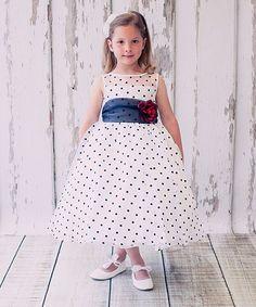 Kids Dream White & Black Polka Dot Rose Dress - Toddler & Girls | zulily