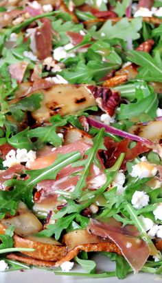 Grilled Pear, Prosciutto, Feta And Arugula Salad | yummyaddiction.com