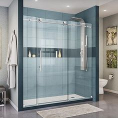 DreamLine Enigma-X 68 in. to 72 in. x 76 in. Frameless Sliding Shower Door in Polished Stainless Steel