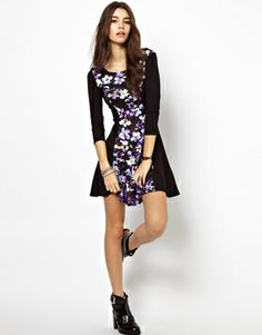$40 Image 4 of Textile Federation Skater Dress In Purple Print
