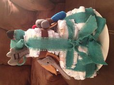 Diaper cake for a baby boy shower!