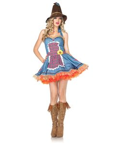 Sunflower Scarecrow Adult Womens Costume. $54.91 at Spirit Halloween, zipper dress, hat included. There is a ruffle detail on dress... Buy a petticoat to add underneath if you'd like.