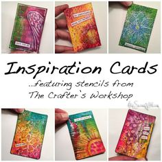 Inspiration cards featuring stencils from The Crafter's Workshop • AtopSerenityHill.com #stencils #mixedmedia #artjournaling Art Journal Pages, Art Journals, Craft Robo, Atc Cards, Craft Cards, Greeting Cards, Inspiration Cards, Creative Inspiration, Style Inspiration