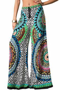 Amazon.com: Womens Sexy Green Blue Pink Paisley Ethnic Tribal Print Boho Palazzo Yoga Pants: Clothing