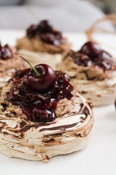 Mini Chocolate Cherry Pavlovas | What Charlotte Baked