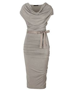 Hemp Draped Jersey Dress with Belt-  change the belt to a neon color=brighten the outfit some...