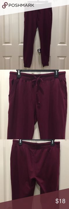 """Boutique French terry burgundy joggers. Boutique French terry burgundy joggers with pockets. Waist- flat and untied is 32"""". Inseam to end of elastic hem is 27"""". Outseam is 35"""". Hips 21.5"""" (42 total laying flat). These have been worn once and washed once. Cute and comfy. Preloved in excellent condition. Very ON TREND color! 💕💕💕 Ambiance Apparel Pants Track Pants & Joggers"""