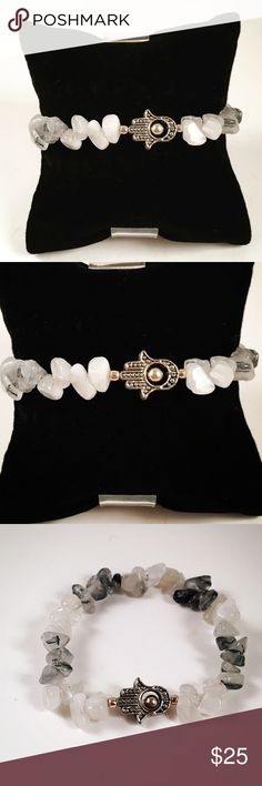 women white quartz ,hamsa , hand of god bracelet Women bracelet. Fits most , 6 to 7.5 inch wrist. Handmade by me , never worn by anyone. Made out of white and grey quartz. Tibetan silver Hamsa/ hand of god charm. I ship fast!!!😊✈️ Free gift with every purchase!!🤗🎁 Jewelry Bracelets