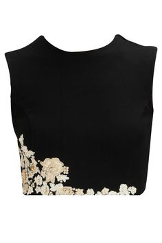 Black floral embroiderd crop top available only at Pernia's Pop-Up Shop. black cotton stretch crop top with thread and pearl floral embroidery on hem. India Fashion, Ethnic Fashion, Asian Fashion, Indian Blouse, Indian Wear, Saris, Lehenga, Salwar Kameez, Latest Designer Sarees