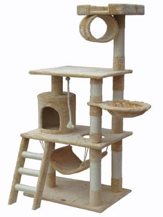 Go Pet Club Árbol para gato con mueble tipo apartamento, 157 cm, color beige