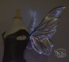 Clarion Iridescent Light Up Fairy Wings in Clear with Black Veins & White Lights Black Fairy Wings, Blue Fairy, White Light, Light Up, Fairy Fancy Dress, Renaissance Fair, Fibre, Playing Dress Up, Cosplay Costumes