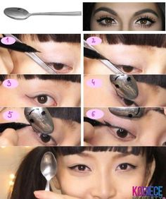 40 DIY Beauty Hacks That Are Borderline Genius---Ex: Use a spoon sideways to get a purrrfect cat eye look