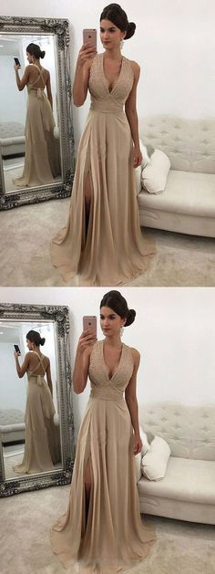 Beautiful Chiffon V-neck A-line Modest Charming Beading Prom Dresses by ainiprom, $138.95 USD