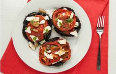 Portobello Mushroom Caps With Feta, Tomato, and Mint