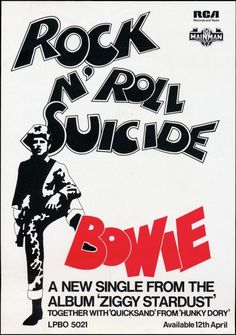 """ David Bowie's Rock N' Roll Suicide Promo Poster """
