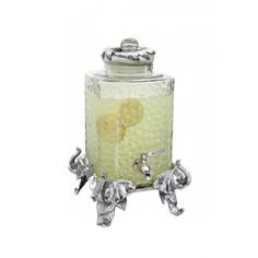 Arthur Court Designs Elephant Beverage Server 103424 This unique server is perfect for fine liquor, wine, water or any other beverage. An intricately detailed elephant on each corner serves as the base. Holds 2.5 Gallons. #Beverage #Server