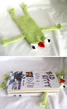 Knitting Pattern for Frog Bookmark - Uses just 52 – 55 yards (48 – 50 m) of Aran weight yarn. Rated easy by Ravelrers. Designed by Stana D.Sortor