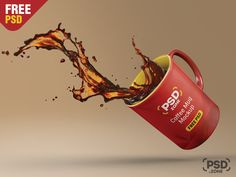 Floating Coffee Mug Mockup Free PSD by PSD Zone