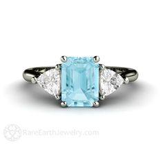 Aquamarine Ring Aquamarine Ring 3 Stone Emerald Cut Aqua Ring 14K or 18K Gold Blue Gemstone Ring