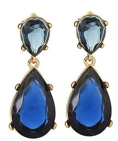 Kenneth Jay Lane Blue Austrian Crystal Teardrop Earrings