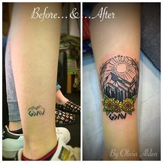 God is greater than the ups and downs rework, coverup Tattoo. A nice nature scene with the sun, mountains, trees and a kiss of sunflowers.