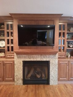 Fireplace Mantel With Stone Surround