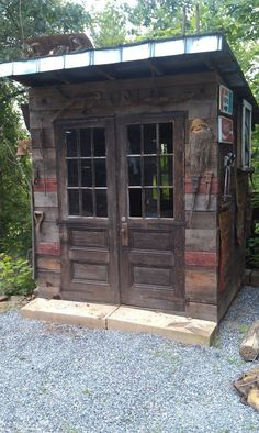 Garden Shed made from salvaged/recycled/reclaimed wood & materials made by Bradley of Old World Arhchitecual in Asheville. Love the wood siding!: shed design shed diy shed ideas shed organization shed plans Storage Shed Designs Ideas, Diy Storage Shed Plans, Small Shed Plans, Backyard Storage Sheds, Wood Shed Plans, Free Shed Plans, Shed Building Plans, Backyard Sheds, Outdoor Sheds