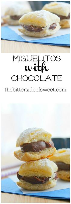 Miguelitos with Chocolate - The Bitter Side of Sweet Best Dessert Recipes, Sweets Recipes, Brunch Recipes, Fun Desserts, Baking Recipes, Dessert Ideas, Holiday Desserts, Baking Ideas, Holiday Recipes
