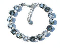 Swarovski Crystal  Bracelet - Sabika Inspired -  Silver, Crystal, & Black Diamond -  Bridesmaid Gift via Etsy