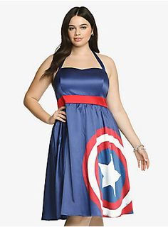 Limited Edition! Show off your patriotic side. This silky Captain America navy halter dress has a slightly distressed shield graphic on it and a vibrant red waistband. With a cute sweetheart neckline and retro tulle lining. $68.90