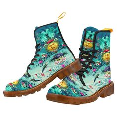 Vintage Moon with Birds & Flowers Blue Canvas Combat Boots sold by Jantulov Designs. Shop more products from Jantulov Designs on Storenvy, the home of independent small businesses all over the world.