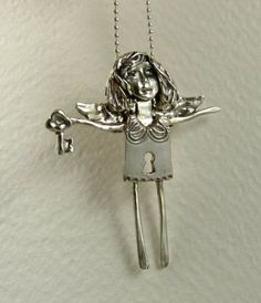 Angel Kiara Holds The Key - Up Cycled Sterling Silver, Sterling Silverware, And PMC - Women - Strength - Empowerment - Art Pendant - 1703