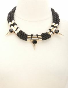 metallic spike & rope statement necklace