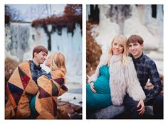 Couples photoshoot by a frozen waterfall in the winter! Photography Portraits, Maternity Photographer, Pregnancy Photos, Waterfall, Frozen, Photoshoot, Engagement, Couple Photos, Couples
