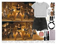 """""""Shooting Work from Home with Fifth Harmony!"""" by inyene105 ❤ liked on Polyvore featuring Alexander Wang, Monki, Carhartt, Timberland, New Look, Smashbox, Rimmel, Bobbi Brown Cosmetics, Milani and Charlotte Russe"""