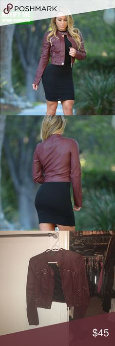 Leather jacket (worn twice) Fashion nova leather jacket - burgundy thriller jacket Fashion Nova Jackets & Coats