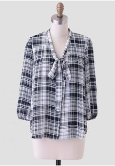 Prep School Plaid Blouse