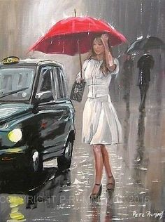 Out in a Downpour by Pete Rumney Umbrella Painting, Rain Painting, Umbrella Art, Under My Umbrella, Walking In The Rain, Singing In The Rain, I Love Rain, Rain Art, Under The Rain