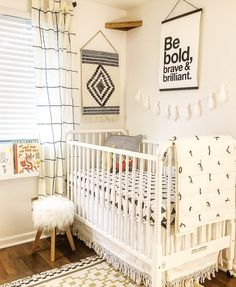 Modern Nursery with Black triangle crib sheet by ModFox on Etsy. - monochrome nursery - gender neutral nursery - black and white nursery - black Crib bedding Monochrome Nursery, White Nursery, Rustic Nursery, Nursery Neutral, Nursery Room, Apartment Nursery, Kids Bedroom, Baby Boy Rooms, Baby Boy Nurseries