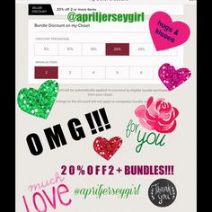 """THATS RIGHT!!! 20% OFF 2 or MORE ON BUNDLES!!! Just hit the """" add bundle """" on what your interested in, and it will show you the discount! N then just buy!!! ✨ ALWAYS HERE FOR YOU...TO HELP, ANSWER QUESTIONS....OR JUST TO CHAT!!SEE MY NEW CHIT CHAT POST TO GET TO KNOW EACH-OTHER!! ...,,,I love my PFFS! So,"""" TELL ME EVERYTHING"""" !???  MY DISCOUNT!!! """" Accessories"""